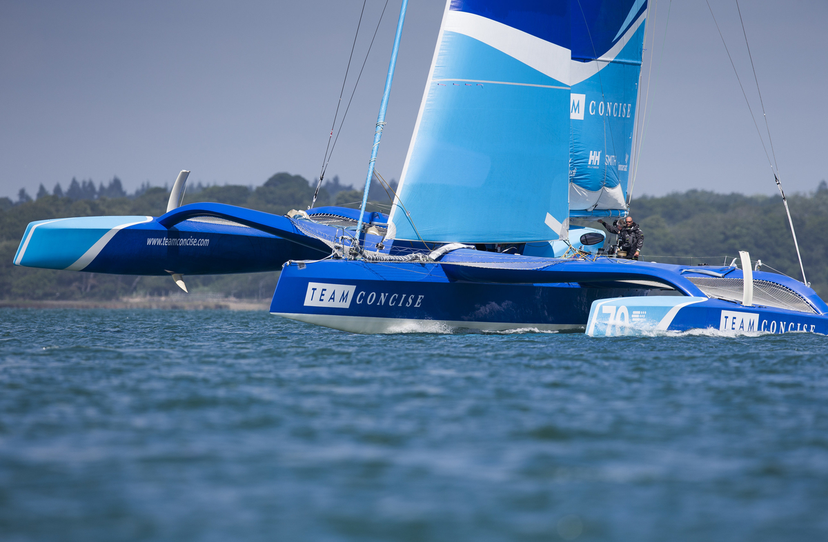 Image licensed to Lloyd Images  Pictures of the new Team Concise MOD70 trimaran skippered by Ned Collier Wakefield (GBR) in action  during a training session in the Solent. UK Credit: Lloyd Images